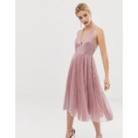 エイソス レディース ワンピース トップス ASOS DESIGN midi dress in pleated sequin Soft pink