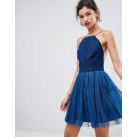 エイソス レディース ワンピース トップス ASOS DESIGN lace top tulle mini dress Navy