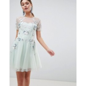 エイソス レディース ワンピース トップス ASOS DESIGN premium embellished tulle open back mini dress Pale blue