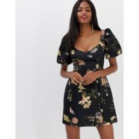 エイソス レディース ワンピース トップス ASOS DESIGN Balloon Sleeve Mini Dress in Floral Print Multi