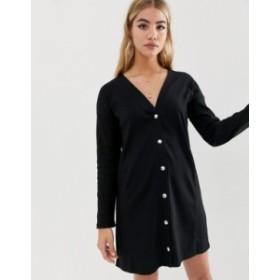 エイソス レディース ワンピース トップス ASOS DESIGN long sleeve popper front shift dress Black