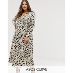 エイソス レディース ワンピース トップス ASOS DESIGN Curve wrap maxi dress in leopard print Leopard print