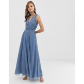 エイソス レディース ワンピース トップス ASOS DESIGN Bridesmaid maxi dress with pearl and sequin embellished drape bodice Blue