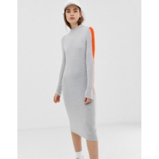 エイソス レディース ワンピース トップス ASOS DESIGN high neck midi dress with tipping Grey