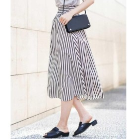 MK MICHEL KLEIN / エムケーミッシェルクラン 【洗える】ストライプ柄ギャザースカート