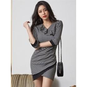 ブロックチェック スリム フィット ドレス ワンピース ミニ*韓国新作*