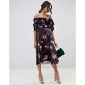 エイソス レディース ワンピース トップス ASOS DESIGN Maternity Velvet Double ruffle pleat midi dress in floral print Multi