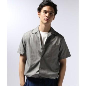EDIFICE マルチパターン チェック オープンカラー シャツ グレー S