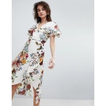 リバーアイランド レディース ワンピース トップス River Island Floral Print Wrap Front Midi Dress Cream print