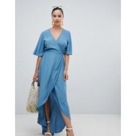 ニュールック レディース ワンピース トップス New Look Wrap Asymmetric Dress Mid blue