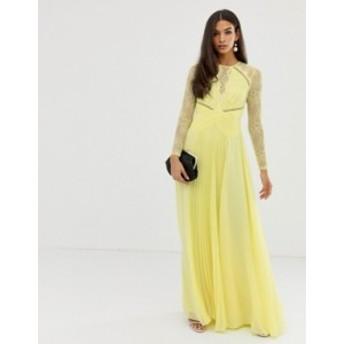 エイソス レディース ワンピース トップス ASOS DESIGN long sleeve lace paneled pleat maxi dress Lemon yellow