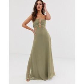 エイソス レディース ワンピース トップス ASOS DESIGN maxi dress in crinkle chiffon with rope trim bodice detail Khaki