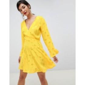 エイソス レディース ワンピース トップス ASOS DESIGN jacquard skater mini dress with long sleeves Yellow