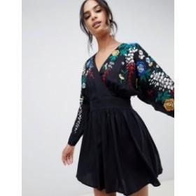 エイソス レディース ワンピース トップス ASOS DESIGN embroidered mini smock dress Black