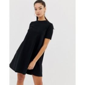 エイソス レディース ワンピース トップス ASOS DESIGN mini t-shirt dress with smock back Black