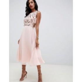 エイソス レディース ワンピース トップス ASOS DESIGN midi dress with pinny bodice in 3D floral embellishment Pale pink