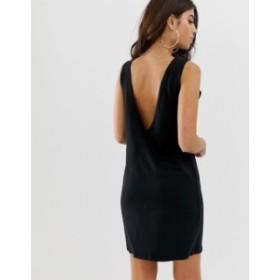 エイソス レディース ワンピース トップス ASOS DESIGN v back tank dress Black