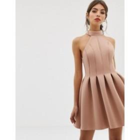 エイソス レディース ワンピース トップス ASOS DESIGN seamed halter mini prom dress Camel