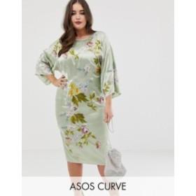 エイソス レディース ワンピース トップス ASOS DESIGN Curve kimono midi pencil dress in satin floral embroidery Pale green