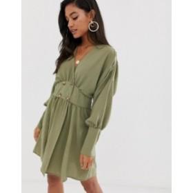 エイソス レディース ワンピース トップス ASOS DESIGN wrap mini dress with faux tortoiseshell buttons Khaki