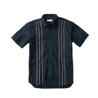 Louis Chavlon(ルイシャブロン)前身ストライプ切替デザイン半袖シャツ カジュアルシャツ