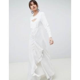 エイソス レディース ワンピース トップス ASOS WHITE Ruffle Maxi Dress in Grid Print White
