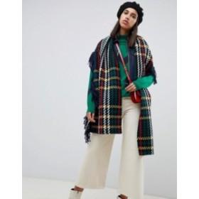 エイソス レディース マフラー・ストール・スカーフ アクセサリー ASOS DESIGN wool woven check scarf with fringed edge Multi