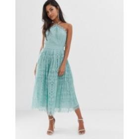 エイソス レディース ワンピース トップス ASOS DESIGN lace midi dress with pinny bodice Pale blue