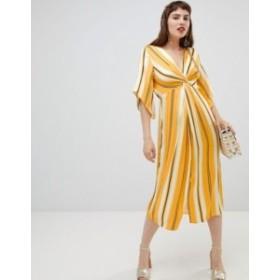 リバーアイランド レディース ワンピース トップス River Island smock midi dress with knot detail in stripe Yellow bright stripe