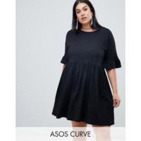 エイソス レディース ワンピース トップス ASOS DESIGN Curve cotton slubby frill sleeve smock dress Black