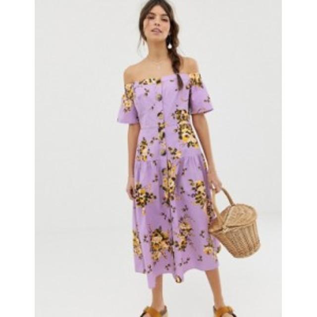 エイソス レディース ワンピース トップス ASOS DESIGN off shoulder button through midi dress in floral print Light based floral