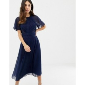 エイソス レディース ワンピース トップス ASOS DESIGN pleated paneled flutter sleeve midi dress with lace inserts Navy