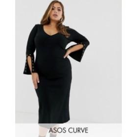 エイソス レディース ワンピース トップス ASOS DESIGN Curve midi rib dress with eyelet detail sleeves Black