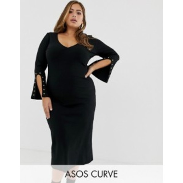 エイソス レディース ワンピース トップス ASOS DESIGN Curve midi rib dress with eyelet detail sleeves Black
