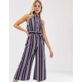 エイソス レディース ワンピース トップス ASOS DESIGN button front collar culotte jumpsuit in stripe print Stripe