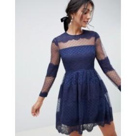 エイソス レディース ワンピース トップス ASOS DESIGN premium lace & dobby mesh mini dress with long sleeves Navy