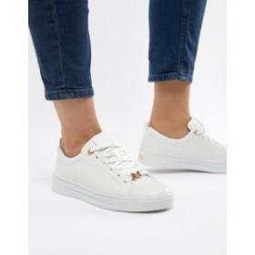 テッドベーカー レディース スニーカー シューズ Ted Baker White Leather Sneakers With Rose Gold White