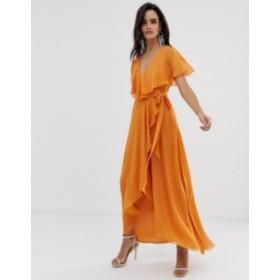 エイソス レディース ワンピース トップス ASOS DESIGN maxi dress with cape back and dipped hem Apricot
