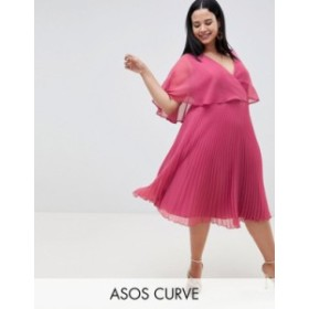 エイソス レディース ワンピース トップス ASOS DESIGN Curve flutter sleeve midi dress with pleat skirt Dark pink