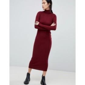 エイソス レディース ワンピース トップス ASOS DESIGN midi dress with high neck in rib Berry