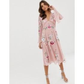 エイソス レディース ワンピース トップス ASOS DESIGN embroidered midi dress with lace trims Pink