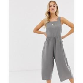 エイソス レディース ワンピース トップス ASOS DESIGN minimal jumpsuit with ruched waist Grey
