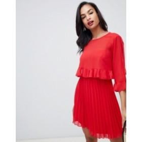 エイソス レディース ワンピース トップス ASOS DESIGN double layer pleated mini dress Red