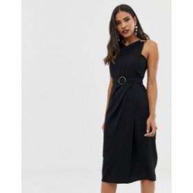 エイソス レディース ワンピース トップス ASOS DESIGN wrap detail midi dress with tortoiseshell buckles Black