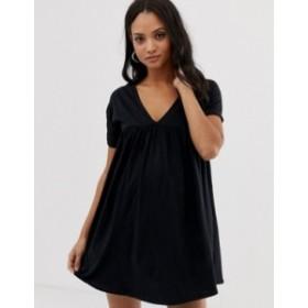 エイソス レディース ワンピース トップス ASOS DESIGN Maternity ultimate cotton smock dress Black