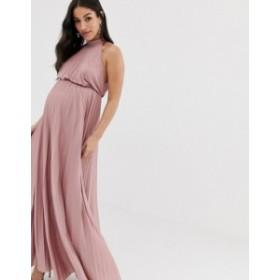 エイソス レディース ワンピース トップス ASOS DESIGN Maternity high neck pleated maxi dress Rose