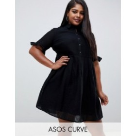エイソス レディース ワンピース トップス ASOS DESIGN Curve casual mini shirt dress with frill sleeve in grid texture Black