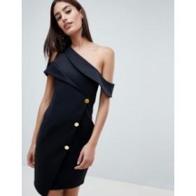 エイソス レディース ワンピース トップス ASOS DESIGN Asymmetric Tux Mini Dress Black