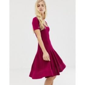 エイソス レディース ワンピース トップス ASOS DESIGN structured dress with seam detail Berry