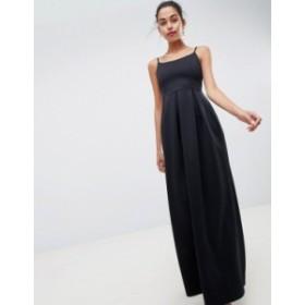 エイソス レディース ワンピース トップス ASOS DESIGN scuba scoop neck maxi prom dress Black